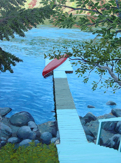 dock with canoe painting