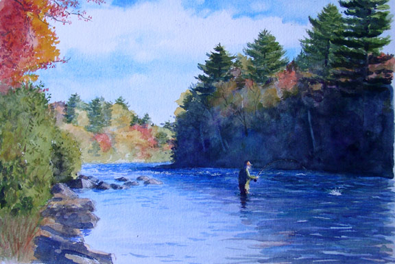fly fishing water color Trout Unlimited